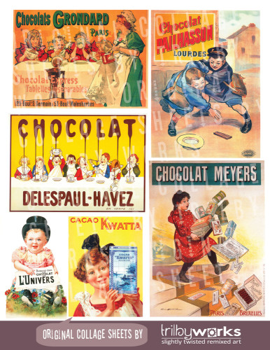 Vintage French Poster Advertising Chocolate