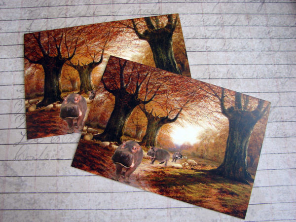 0095C An Autumnal Landscape With Hippos, Blank Note Card