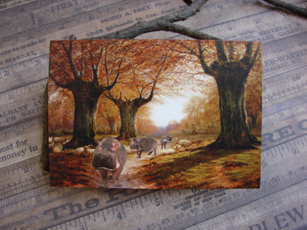 An Autumnal Landscape With Hippos, Blank Note Card