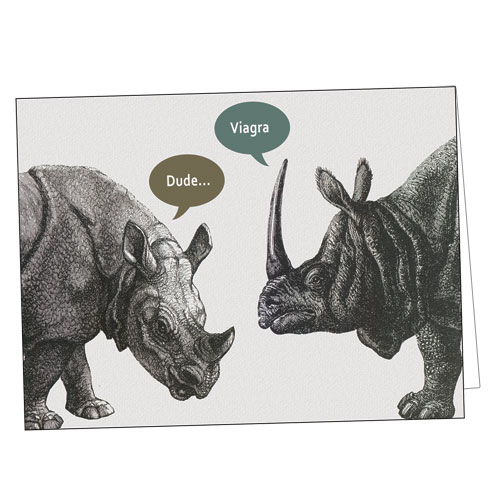 Horny Rhinoceros Greeting Card