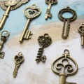Vintage Style Skeleton Key Charms