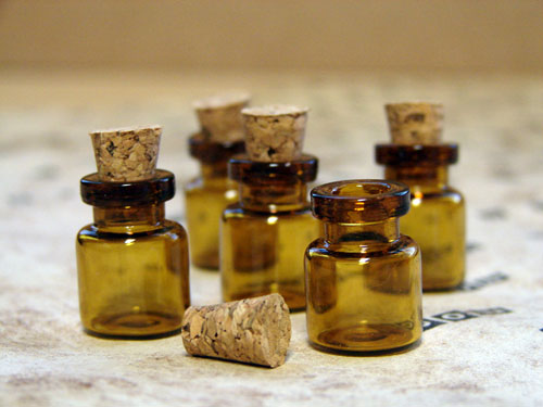 Miniature Amber Apothecary Bottles