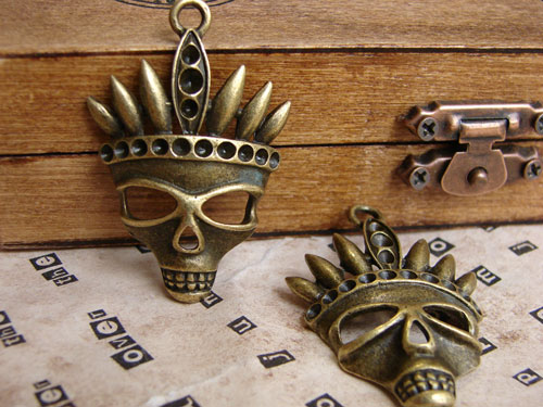 Skull with Headdress Antique Bronze Plated Charm