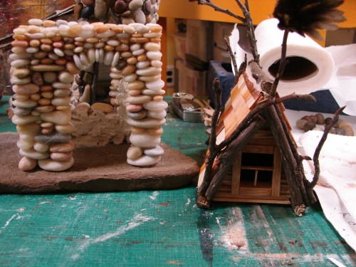 Beach Pebble Stacked Stone Fairy House in progress 06