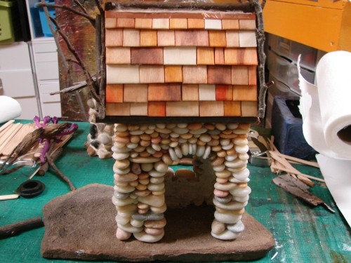 Beach Pebble Stacked Stone Fairy House in progress 07