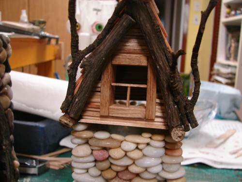 Beach Pebble Stacked Stone Fairy House in progress 08