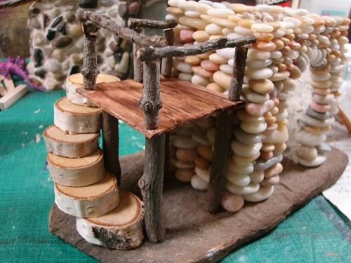 Beach Pebble Stacked Stone Fairy House in progress 09