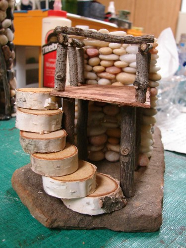 Beach Pebble Stacked Stone Fairy House in progress 10