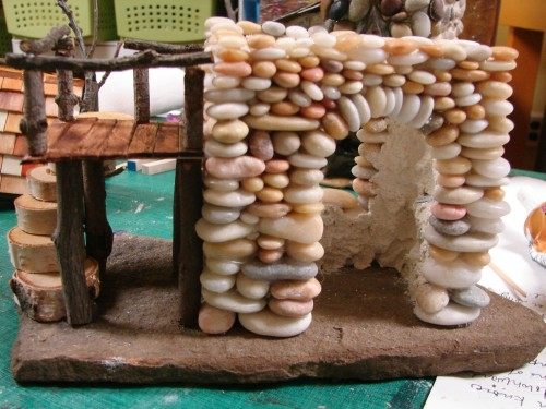 Beach Pebble Stacked Stone Fairy House in progress 11