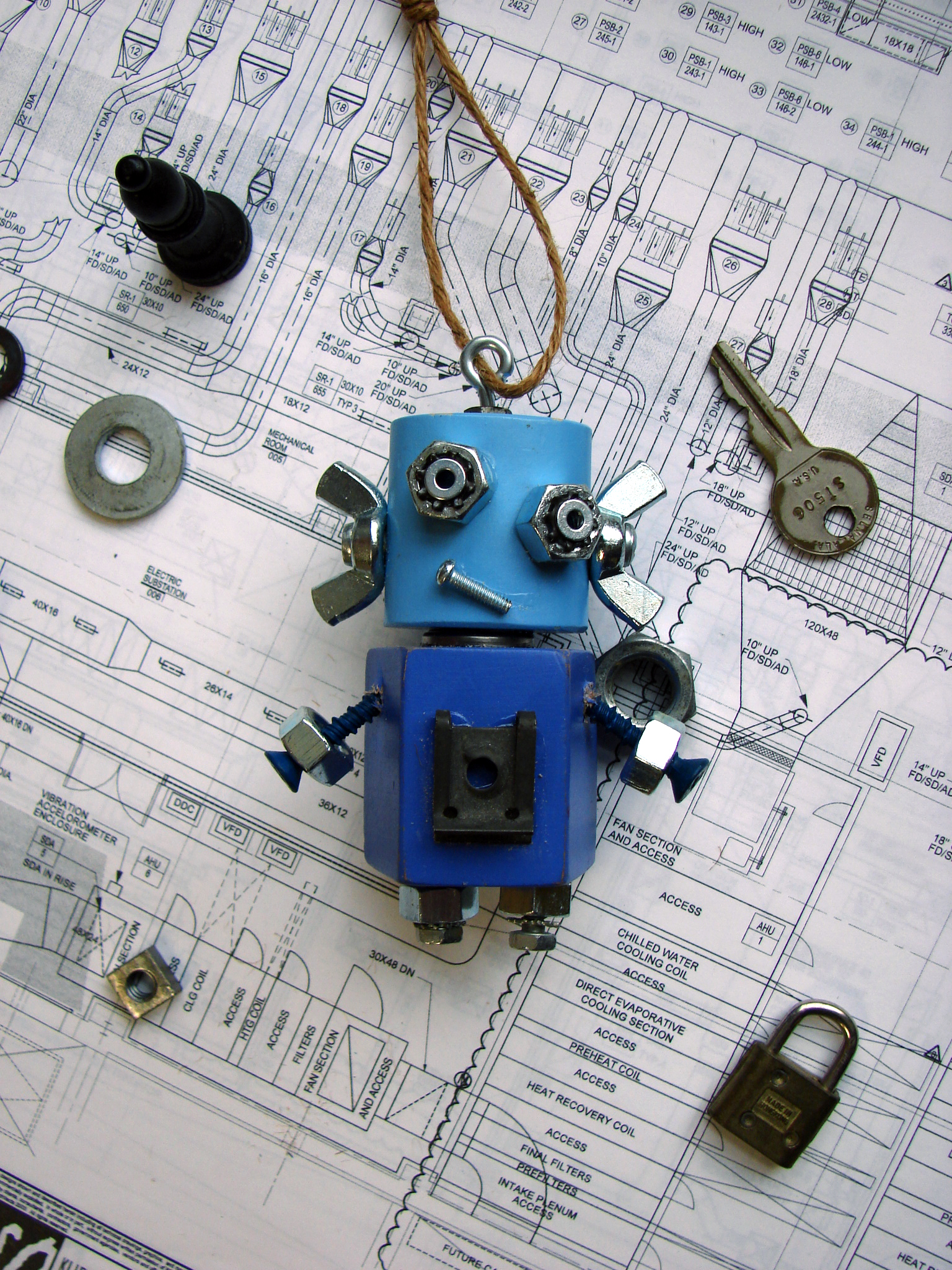 Blue Confused Robot Ornament