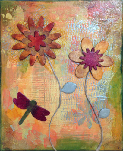 Butterflies and Flowers Mixed Media Collage Painting by Trilby Works