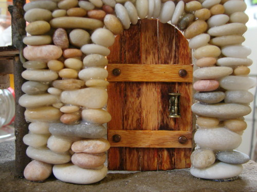 Beach Pebble Stacked Stone Fairy House Door