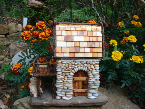 Beach Pebble Stacked Stone Fairy House