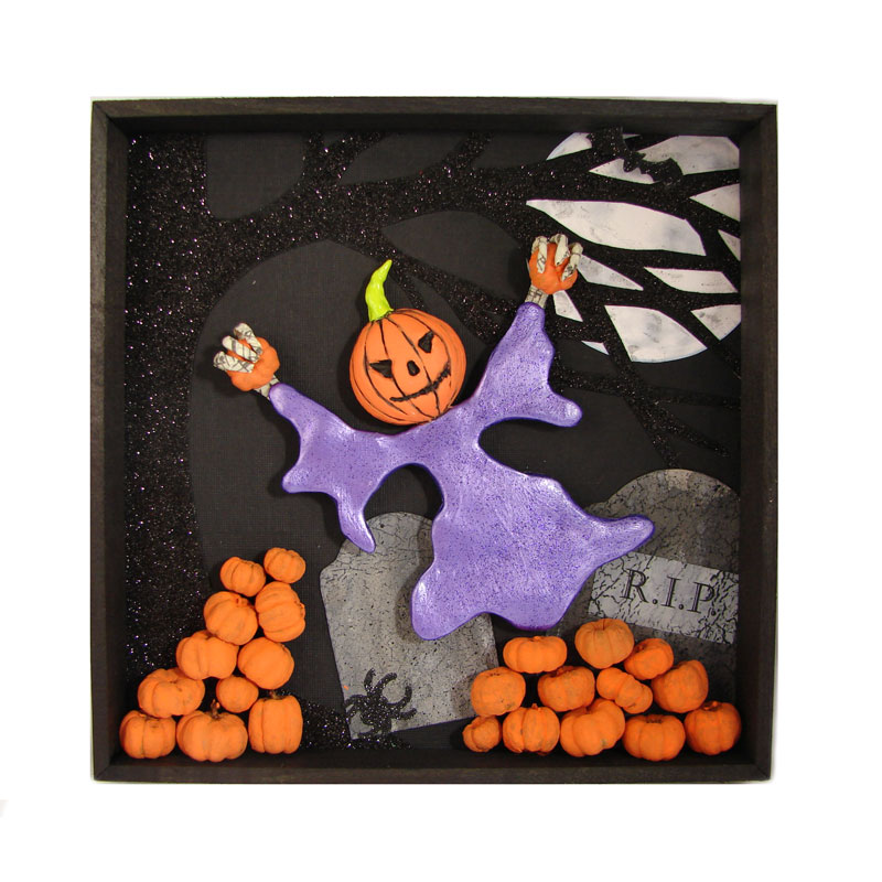 Halloween Pumpkin Ghost Shadow Box