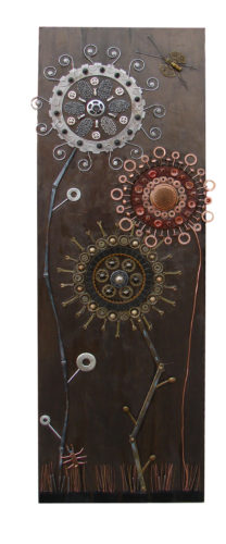 Differential Bloom, Assemblage on Wood Panel, Trilby Works