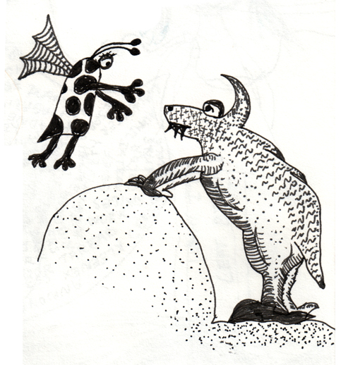 Flying Polka Dotted Creature With Lizard Creature