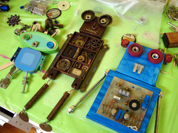 Found Object Robot Wall Hangings in Process