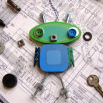 Green and Blue Clothespin Robot Ornament by Trilby Works