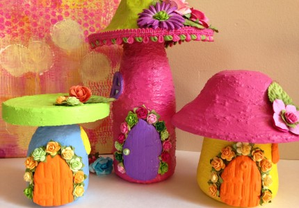 Group of Fairy Mushroom Houses