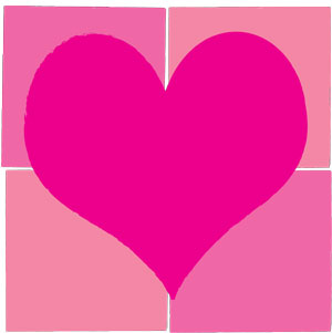 Rosy Pink Heart On A Background of Squares