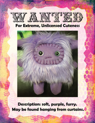 Plush Monster Wanted Poster, Lavender Guy, by Trilby Works