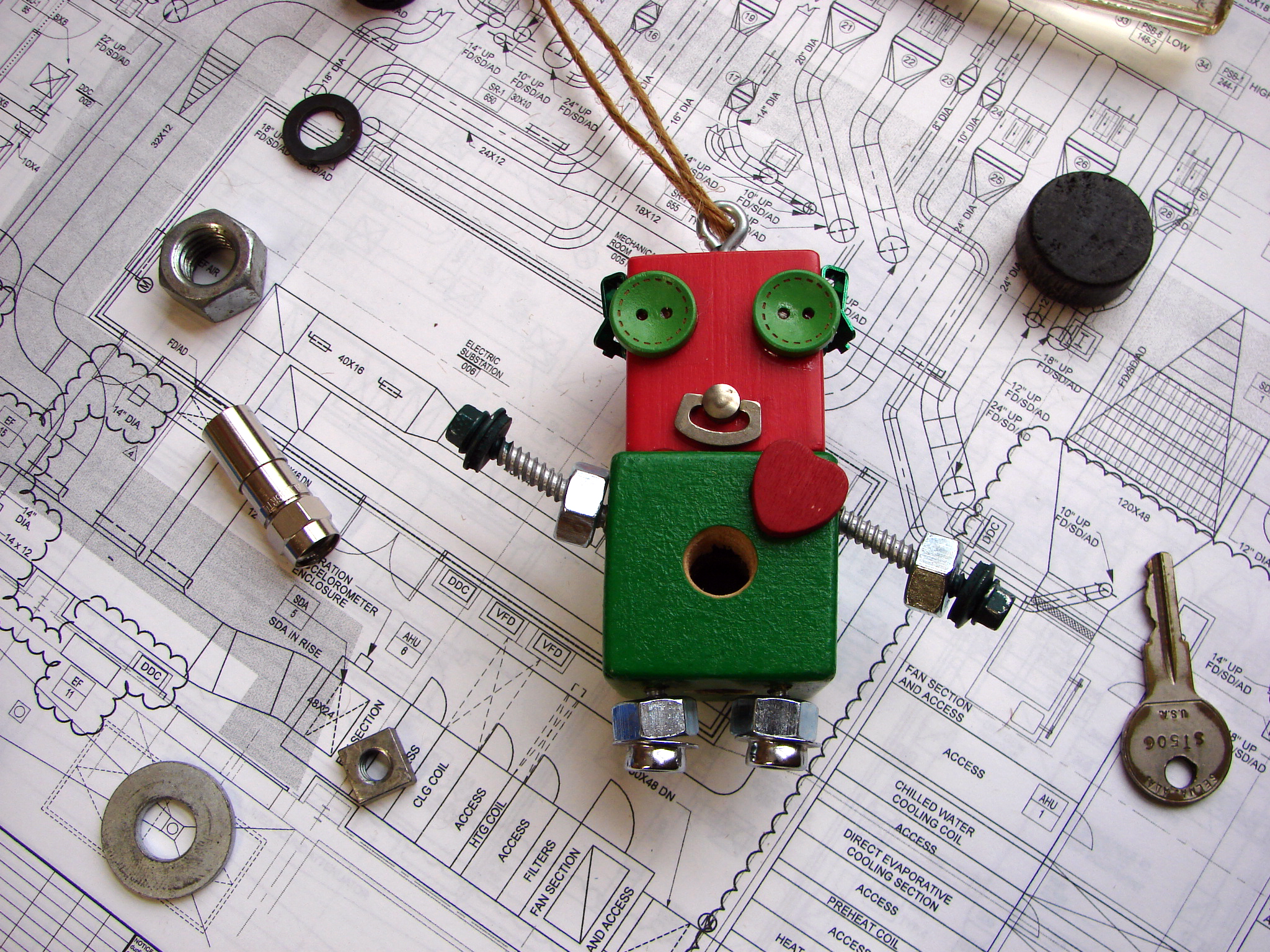 Red and Green Robot Ornament by Trilby Works