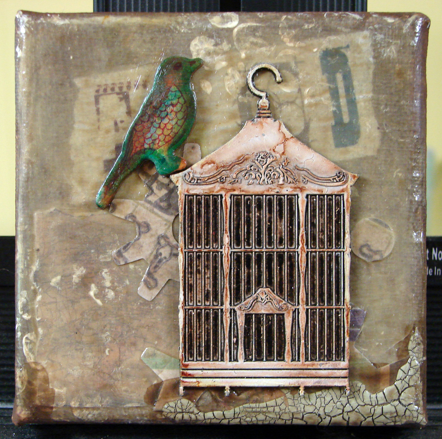 Small Mixed Media Assemblage Art on Canvas, 2