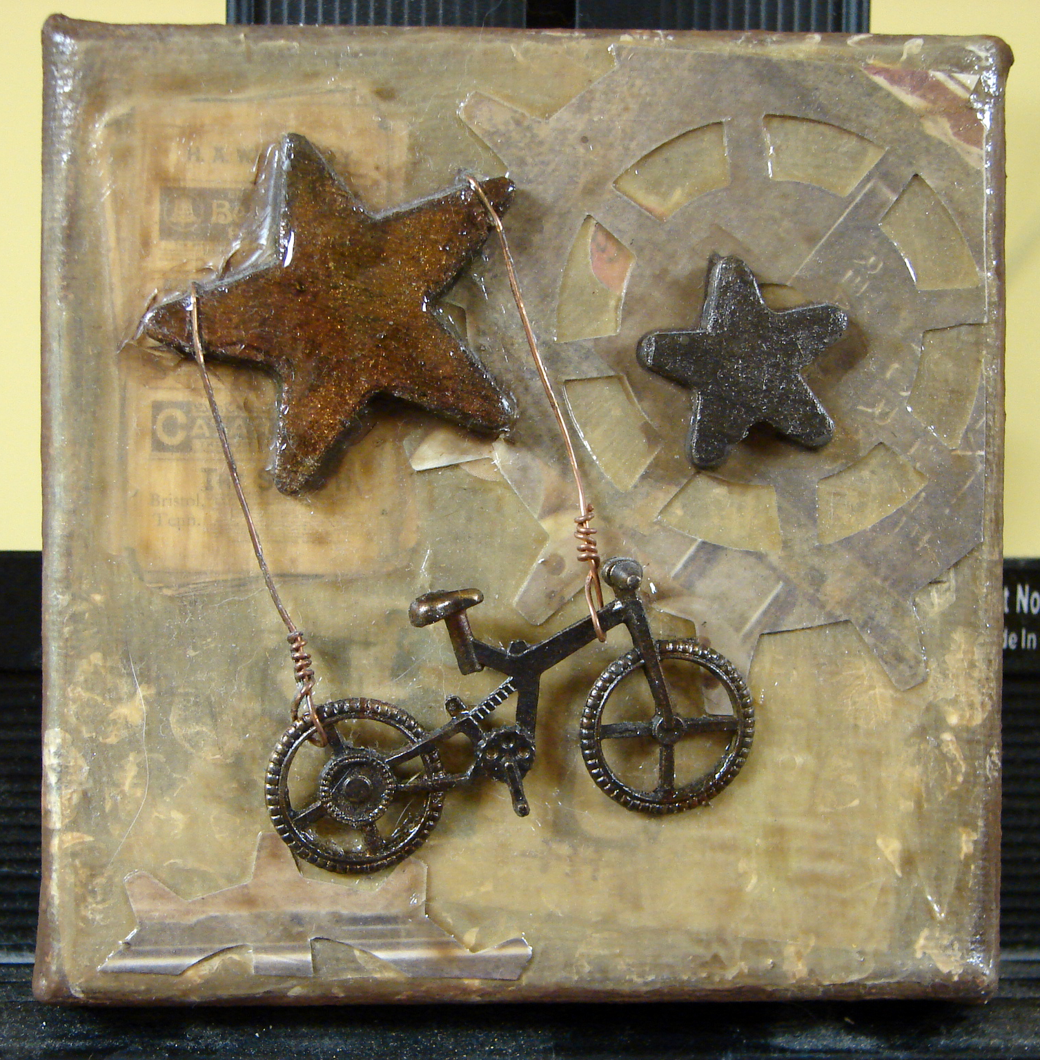 Small Mixed Media Assemblage Art on Canvas, 3
