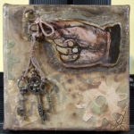 Small Mixed Media Assemblage Art on Canvas, 4