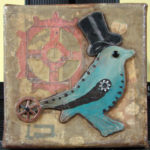 Small Mixed Media Assemblage Art on Canvas, 5