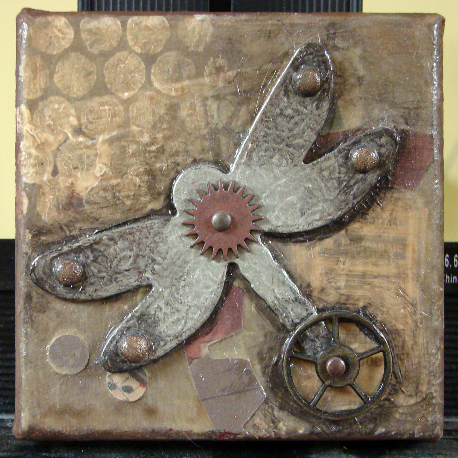 Small Mixed Media Assemblage Art on Canvas, 6