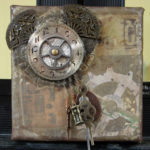 Small Mixed Media Assemblage Art on Canvas, 7