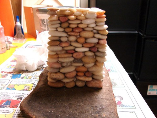 Stacked Stone Fairy House in progress 3