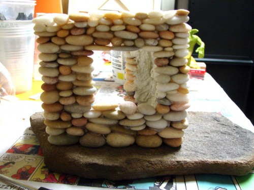 Stacked Stone Fairy House in progress 4