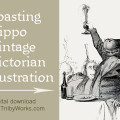 Toasting Hippo Vintage Victorian Illustration Graphic from Trilby Works