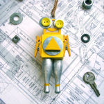 Yellow Triangle Robot Ornament by Karen Furst