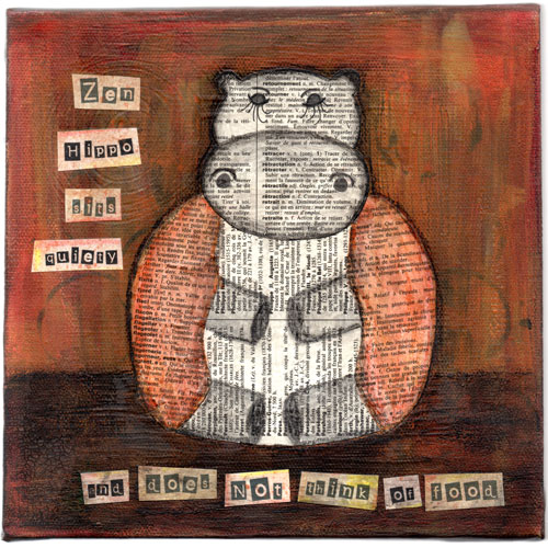 Zen Hippo Sits Quietly Collage Painting