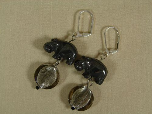 Black Hippo Earrings