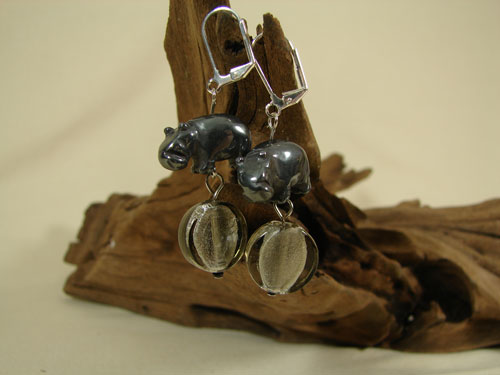 Gunmetal Gray Hematite Hippo Earrings