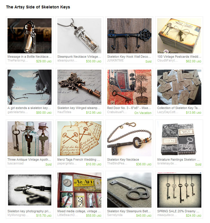 Etsy treasury skeleton keys