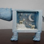One-Of-A-Kind Hippo Sculpture Art Piece from Wooden Crate and PaperClay