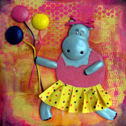 Happy Birthday Hippo With Balloons Collage Painting by Trilby Works